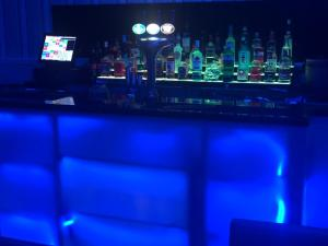 The lounge or bar area at Lowenac Hotel