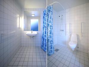 Ett badrum på Sangis Motell och Camping