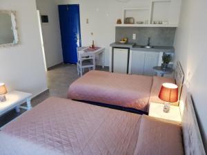 A kitchen or kitchenette at Meltemi Hotel Kythnos