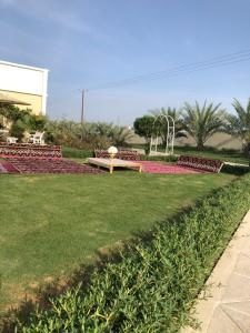 A garden outside Al Ghoroub Farm Stay - مزرعة الغروب للإيجار اليومي