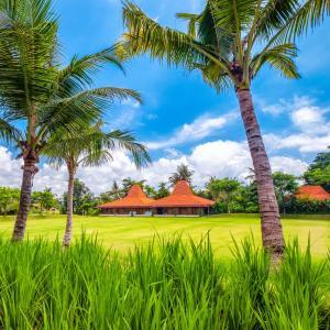 A garden outside Komune Resort & Beach Club Bali
