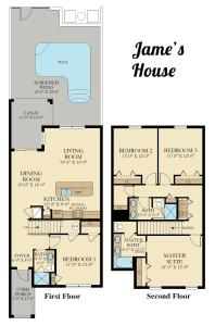 The floor plan of F - New 4 Bedroom Home - 5 Miles to Disney - Free Water Park - Private Pool