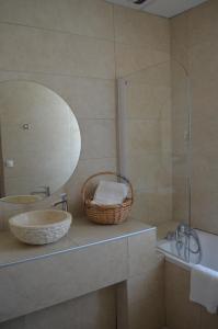 Salle de bains dans l'établissement Hôtel Terminus