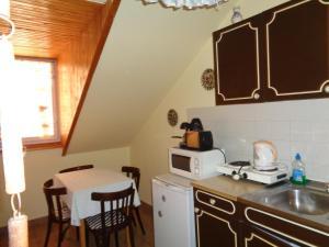 A kitchen or kitchenette at Irénke Vendégház