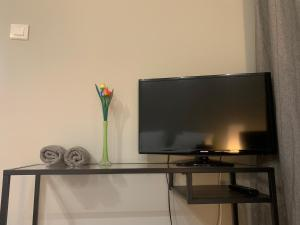 A television and/or entertainment center at Irene luxury studio at Strovolos
