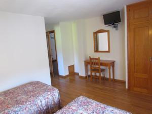 Una televisión o centro de entretenimiento en Hotel Las Nieves