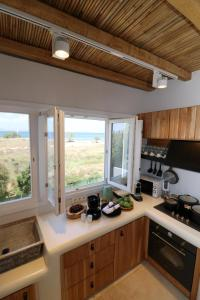 A kitchen or kitchenette at Alkyoni Beach Hotel