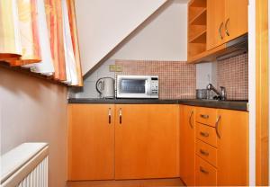 Kuchyň nebo kuchyňský kout v ubytování Penzion na Ostrově