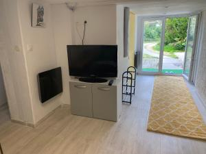 A television and/or entertainment center at Montmorency appartement