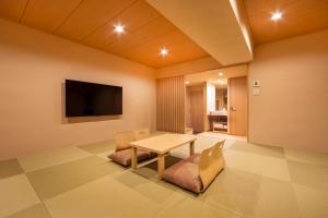 A television and/or entertainment center at karaksa hotel TOKYO STATION