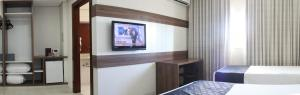A television and/or entertainment center at Hotel D'Luca