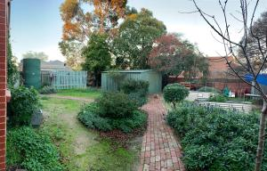 A garden outside Hub Hostel