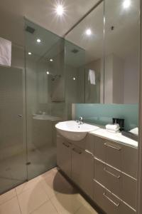 A bathroom at ACD Apartments