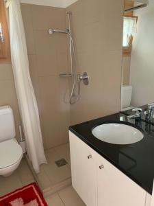 Ein Badezimmer in der Unterkunft Ustria / Pensiun Trutg