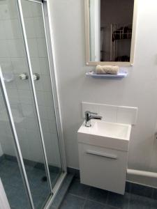 A bathroom at Highlander Haven Motel