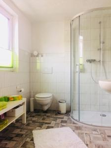 A bathroom at Pension SPORT-SCHMIEDE