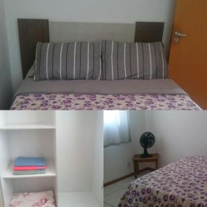 Cama ou camas em um quarto em Apartamento linda vista para o mar Penha Parque Beto Carrero