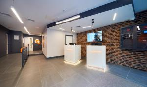 The lobby or reception area at easyHotel London City Shoreditch