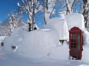 Woody House Kazamidori during the winter