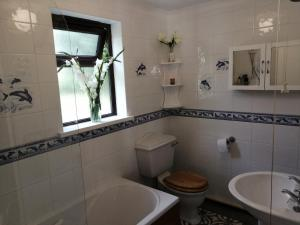 A bathroom at Knobbly Nook, whole property, gardens, parking, wifi, relaxing near Eden Project and coast