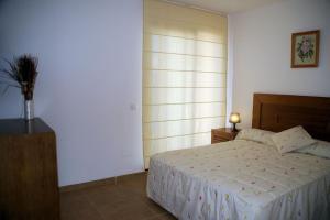 Säng eller sängar i ett rum på Apartamentos Plaza