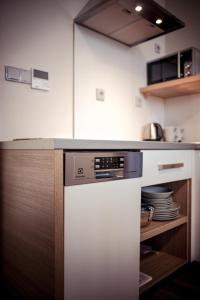 Kuchyň nebo kuchyňský kout v ubytování Penzion Víno Hruška