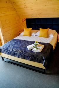 Łóżko lub łóżka w pokoju w obiekcie Domki u Czerników
