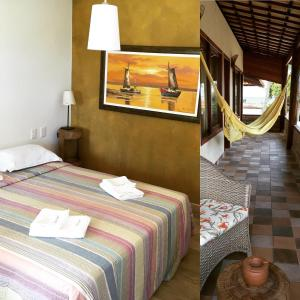 A bed or beds in a room at Pousada Aconchego de Genipabu