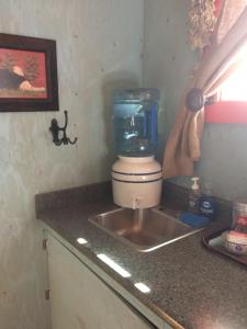 A kitchen or kitchenette at cottonwood cabins