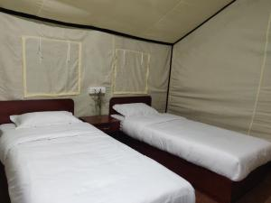 A bed or beds in a room at Ourguest Camp Lachung