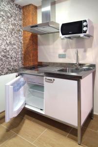 A kitchen or kitchenette at Apartahotel La Corrala