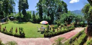 A garden outside Singtom Tea Estate & Resort