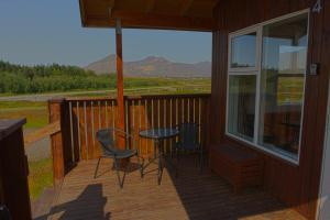 A balcony or terrace at Aurora Cabins