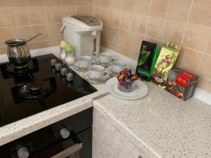 A kitchen or kitchenette at Axenia Hotel