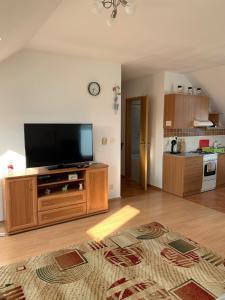 Televízia a/alebo spoločenská miestnosť v ubytovaní Апартаменты