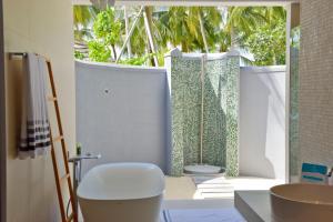 A bathroom at Kuramathi Maldives