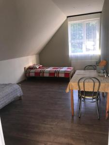 A bed or beds in a room at Višķezers
