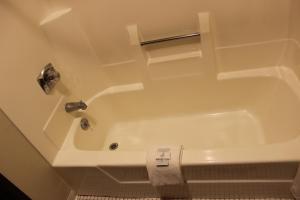 A bathroom at Woodland Inn & Suites