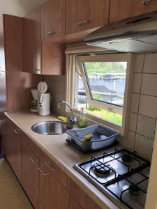 A kitchen or kitchenette at VVP Verhuur Chalet Vinkeveense Plassen