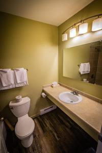 A bathroom at Alpine Inn & Suites