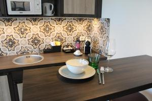 A kitchen or kitchenette at Loft Collection Salzburg Mirabell contactless check-in