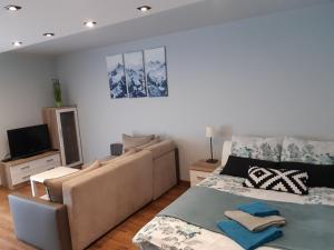 Łóżko lub łóżka w pokoju w obiekcie Apartament-Studio Polana Szaflarska