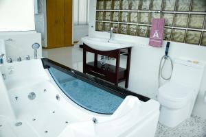 A bathroom at Hotel San Antonio Plaza