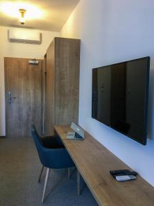 Televízia a/alebo spoločenská miestnosť v ubytovaní Penzión Elements