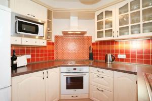 Kuchyň nebo kuchyňský kout v ubytování Vinohrady Sazavska Apartments