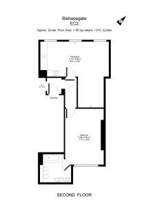 The floor plan of Apartment 2, 48 Bishopsgate