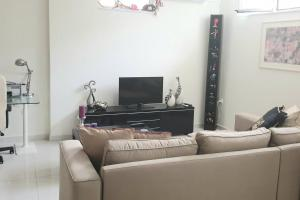 A television and/or entertainment center at Bright, Spacious, Elegant, semi Subterrain with Garden, 5min from sea