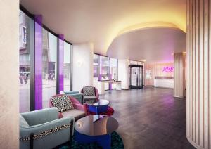 A seating area at YOTEL Glasgow
