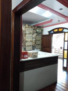 The lobby or reception area at Hostel BH