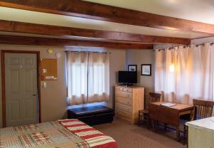 A television and/or entertainment center at High Country Motel and Cabins